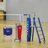 3 Standard Powerlite Volleyball System Package Including Powerlite International Net System, Folding Referee Stand and Padding, Single Net Keeper, Hammock Drill Cart, Cable/Buckle Covers, and Free Lettering on Upright Padding