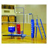 3 Deluxe Powerlite Volleyball System Package Including Powerlite International Net System, Folding Referee Stand and Padding, Single Net Keeper, Hammock Drill Cart, Cable/Buckle covers, Volleyball Equipment Carrier, The Spiker