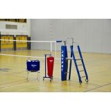 Standard Powerlite Volleyball System Package Including Powerlite International Net System, Folding Referee Stand and Padding, Single Net Keeper, Hammock Drill Cart, Cable/Buckle Covers, and Free Lettering on Upright Padding