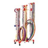 Jump Rope & Hoop Cart, Holds 180 Ropes and 50 Hoops, 29Lx19Wx70H