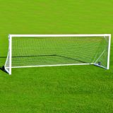 Square Powder Coated Aluminum Club Goal, 8'H x 24'W x 4'B x 9'D, White Mesh Net Included