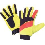 Youth Soccer Nylon Goalie Glove, rubber palm and fingertips, adjustable wrist strap, size large