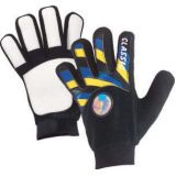 Adult Soccer Player Glove, cotton fabric. Latex fingertips and palm, adjustable wrist strap, size large