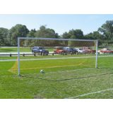 Soccer Goal, 3 Piece Semi Permanent Steel, 8'H x 24'W with no Backstays, 4 round, Nets, clips and hooks included