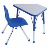 18 x 30 Gray/Blue Trapezoid Table w/ Standard Legs; and 1 Blue Chair, 18H