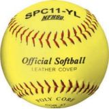 Softball, official 11 NFHS Approved optic yellow cover, poly core, raised seam, 12-pk