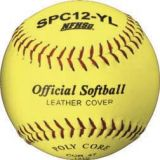 Softball, official 12 optic yellow cover, poly core, raised seam, 12-pk