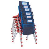 16 Stack Chairs with Classroom Seat Companions, 6-pack