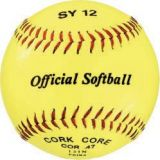 Softball, official 12 optic yellow syntex cover, cork core, raised seam, 12-pk