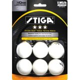 3 Star White Table Tennis Balls, 6-Pack