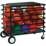 30 Ball Steel Ultimate Ball Locker with Hinged Cover, Casters and 8 Rear Wheels, 45Lx24Wx38H, Black