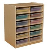 (12) 3 Letter Tray Storage Unit with Translucent Trays
