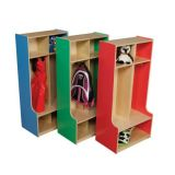 Birch Two Section Seat Locker with Strawberry Side Panels; 48H x 24W x 15D