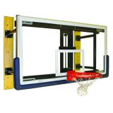 Basketball Wall Mount Shooting Station with 3' Face of Bank, Glass Backboard, Revolution Breakaway Rim with Hideaway Net Attachment