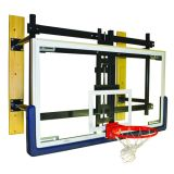 Basketball Wall Mount Adjustable Shooting Station with 3' Face of Bank, Glass Backboard, Revolution Breakaway Rim with Hideaway Net Attachment