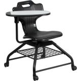 Black Mobile Classroom Chair with Swivel Tablet Arm and Book Basket