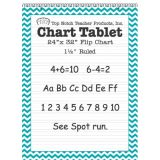 Chevron Border Chart Tablet, 24 x 32, 1 1/2 Ruled, Teal