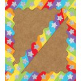Sparkle Shine Glitter Stars on Rainbow Scalloped Border