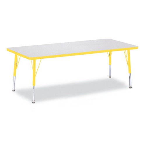 Berries® Adjustable Activity Table, Rectangle, 30 X 72, Toddler (11   15),  Prism Gray With Yellow