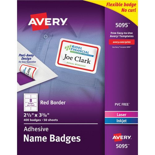 avery flexible adhesive name badge labels white rectangle w red