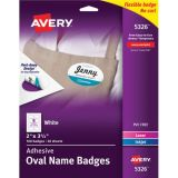 Avery® Flexible Adhesive Name Badge Labels, White Oval