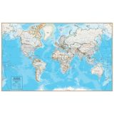 Hemispheres® Contemporary Series Laminated World Wall Map