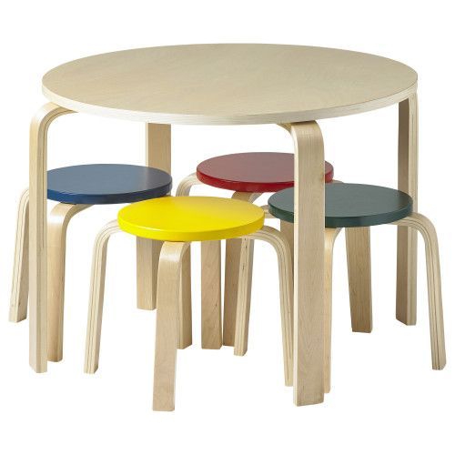 Phenomenal Bentwood Table Stools Set With Colored Stools Beatyapartments Chair Design Images Beatyapartmentscom