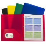 C-Line® Two-Pocket Poly Portfolios, With Prongs, Assorted, Pack of 10