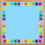 Happy Multicolor Stars Die Cut Border