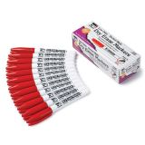 Dry Erase Markers, Bullet Tip, Red, Pack of 12