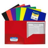C-Line® Two-Pocket Heavyweight Poly Portfolios, Without Prongs, Assorted, Box of 36