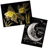 Metallic Foil Scratch-Art® Paper, 10 sheets with stick