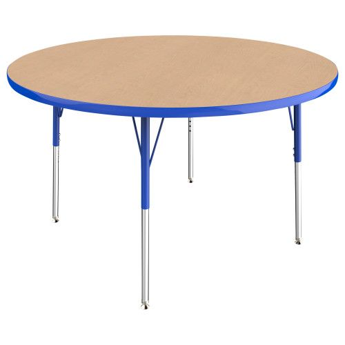 Adjustable Activity Table, 48 Round, Maple Top, Blue Trim, Blue Legs,  Standard Leg, Nylon Swivel Glides