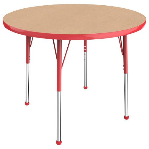 Adjustable Activity Table, 36 Round, Maple Top, Red Trim, Red Legs,  Standard Leg, Ball Glides