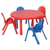 Value Table & 4-Chair Set, Round, Preschool size, Red Table + 4 Chairs (2 Red, 2 Blue)