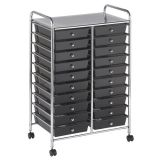 Mobile Organizer, 20 Drawer Double-Wide, Smoke Gray