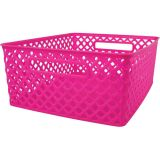 Woven Basket, Medium, Hot Pink