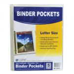 C-Line® Binder Pocket with Hook & Loop Closure, Side Loading, Clear, Pack of 5