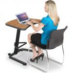 Up-Rite Student Height Adjustable Sit/Stand Desk, Nepal Teak Laminate, Black Edge Band
