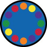 Lots of Dots™ Rug, 7'7 Round, (12 dots), Primary