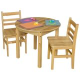 Solid Birch Hardwood Table, 30 Round with 24 legs