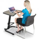 Up-Rite Student Height Adjustable Sit/Stand Desk, Pewter Mesh Laminate, Black Edge Band