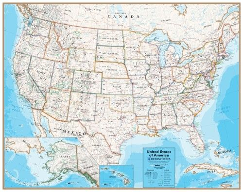 Laminated United States Map.Hemispheres Contemporary Series Laminated United States Wall