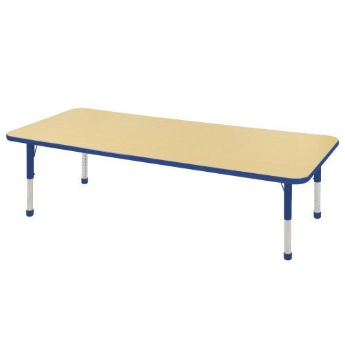 Adjustable Activity Table, 30 X 72 Rectangle, Maple Top, Blue Trim, Blue  Legs, Chunky Leg