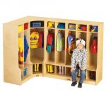 5-Section Coat Locker with Step, Birch