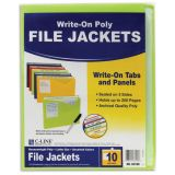 C-Line® Write-On Poly File Jackets, Assorted colors, Pack of 10