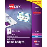 Avery® Flexible Adhesive Name Badge Labels, White Rectangle w/Blue Border