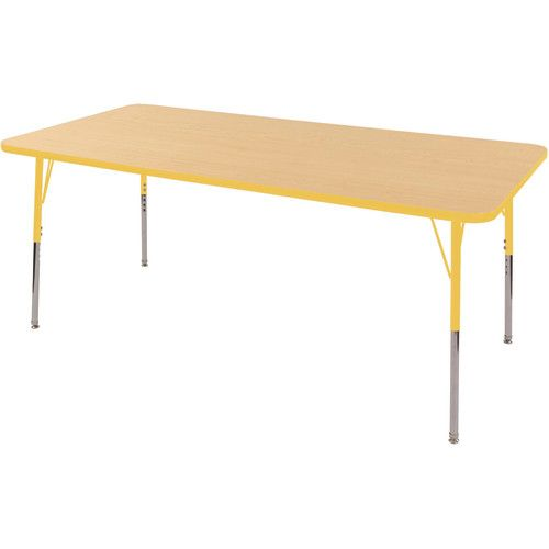 Adjustable Activity Table 36 X 72 Rectangle Maple Top Yellow