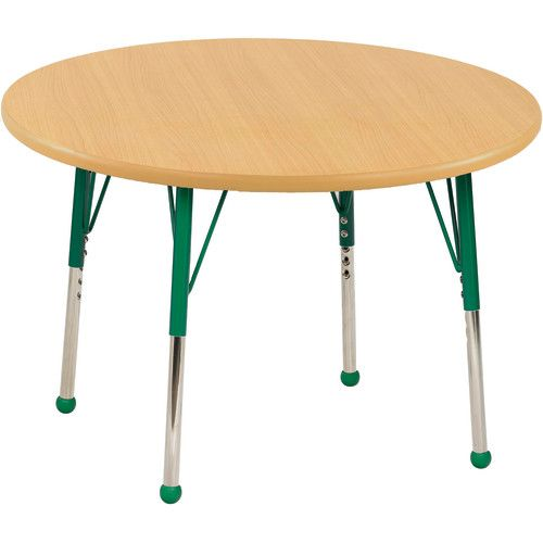 Adjustable Activity Table, 36 Round, Maple Top, Maple Trim, Green Legs,  Toddler Leg, Ball Glides