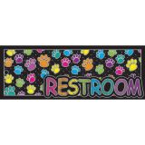 Laminated Hall Pass, Colored Paws Restroom Pass